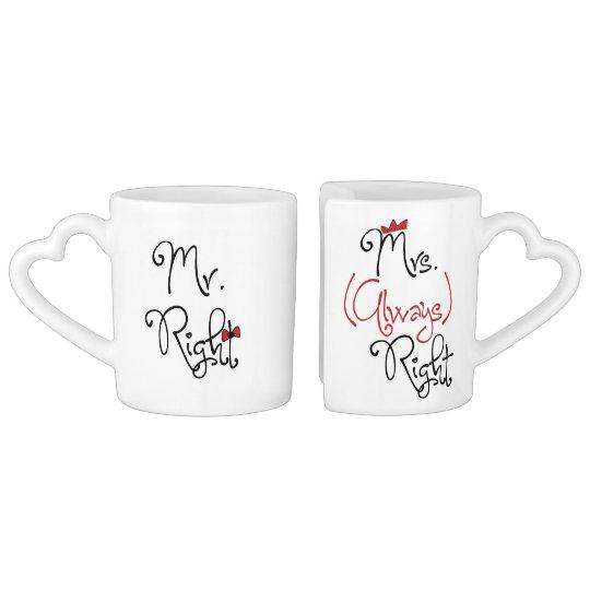 Personalised Mr.Right & Mrs.Always Right Coffee Mug Set