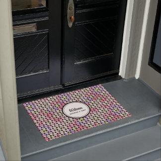 Personalised multi-coloured geometric weave doormat