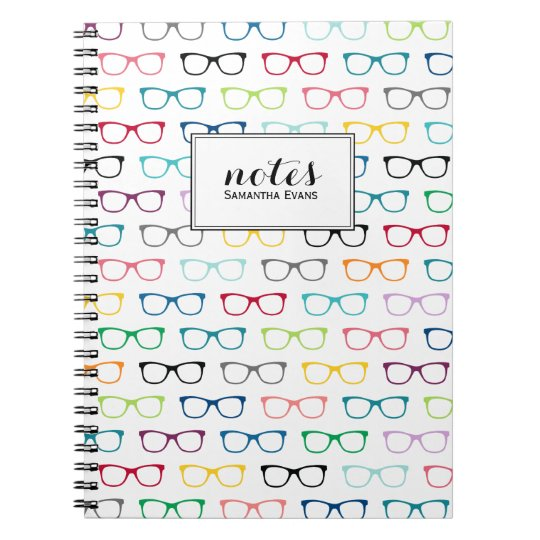 Personalised Multicolor Nerd Glasses Pattern Notebooks