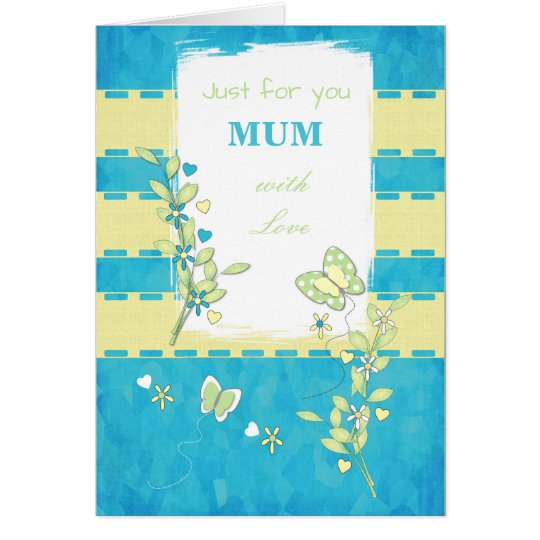 Personalised Mum green and blue Butterflies Card