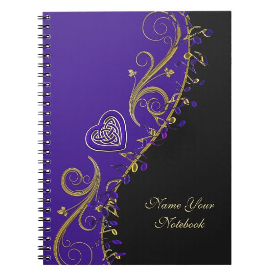 Personalised Music Notes Celtic Heart Notebook