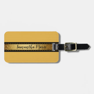 Personalised Mustard Yellow with Black and Gold Luggage Tag