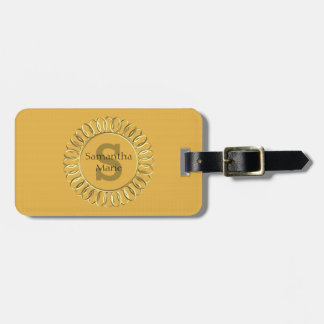 Personalised Mustard Yellow with Gold Frame Luggage Tag
