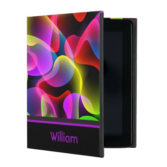 Personalised Name Abstract Neon Lava Swirls iPad Case
