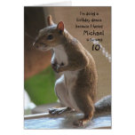 Personalised name/age birthday, dancing squirrel