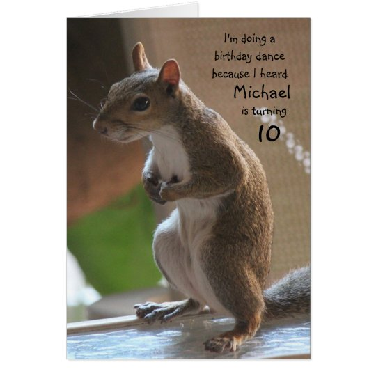 Personalised name/age birthday, dancing squirrel card