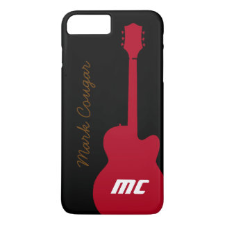 personalised name and initials red rock guitar iPhone 8 plus/7 plus case