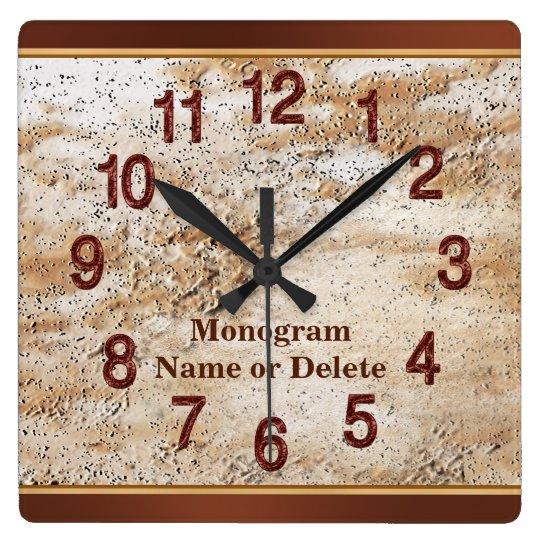 Personalised Name and Monogram Wall Clock for Men