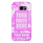 Personalised Name and Photo Cute Pink Camouflage Samsung Galaxy S6 Cases