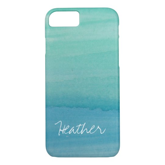 Personalised name aqua watercolor iPhone 7 case