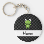 Personalised name baby frog black criss cross basic round button key ring