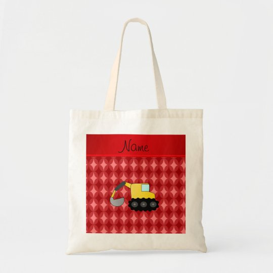Personalised name backhoe red retro ovals tote bag