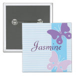 Personalised Name Badge - Butterflies Button