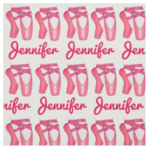 Personalised Name Ballet Toe Shoes Dance Fabric