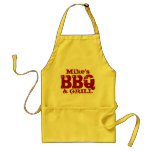 Personalised name BBQ apron for men   Red yellow