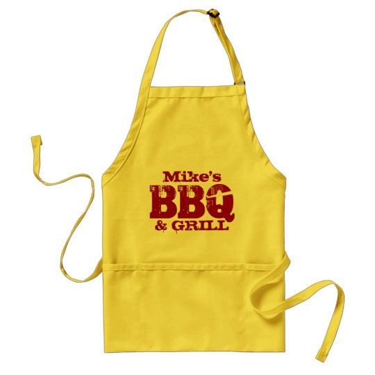 Personalised name BBQ apron for men | Red