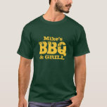 Personalised name BBQ t shirt for guys