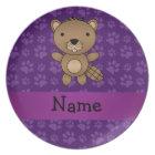Personalised name beaver purple paw pattern plate