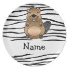 Personalised name beaver zebra stripes plate