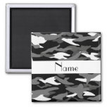 Personalised name black camouflage square magnet