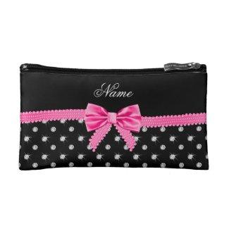 Personalised name black diamonds pink bow Cosmetic Bag