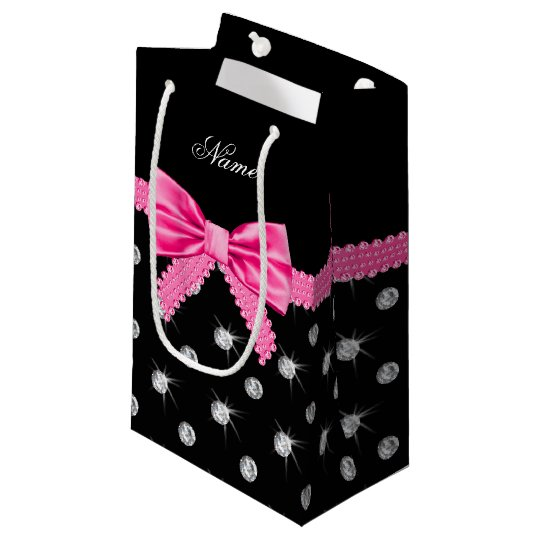 Personalised name black diamonds pink bow small gift