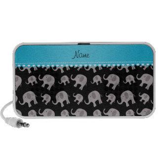 Personalised name black grey elephants portable speaker