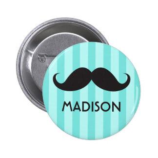 Personalised name black handlebar moustache aqua pinback button