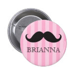 Personalised name black handlebar moustache pink badges