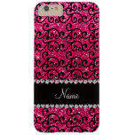 Personalised name black rose pink glitter swirls barely there iPhone 6 plus case