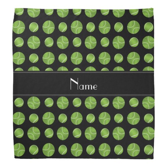 Personalised name black tennis balls pattern bandana