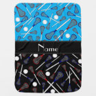 Personalised name blue black lacrosse pattern baby blanket