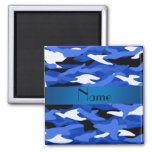 Personalised name blue camouflage square magnet