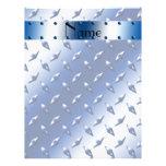 Personalised name blue diamond plate steel