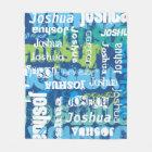 Personalised Name Blue Green Subway Art Fleece Blanket
