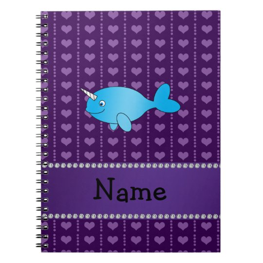 Personalised name blue narwhal purple hearts notebooks