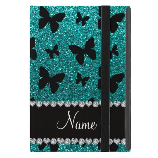 Personalised name bright aqua glitter butterflies case for