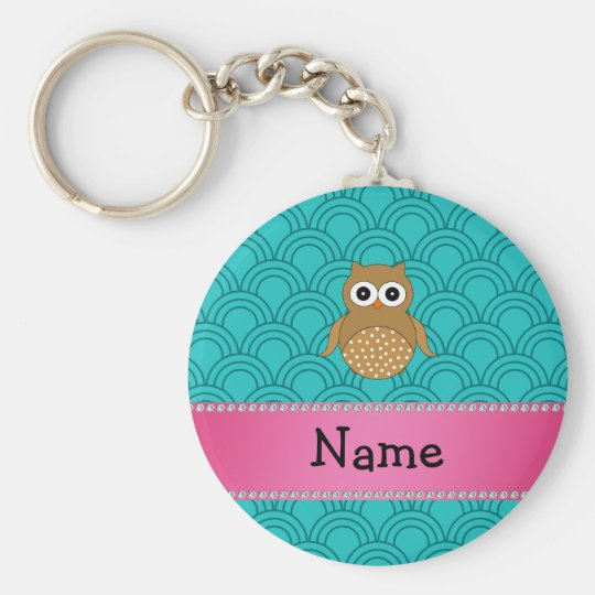 Personalised name brown owl turquoise half circles basic round button key ring