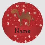 Personalised name camel red snowflakes round sticker