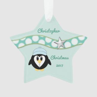 Personalised name Christmas penguin green Grandson Ornament
