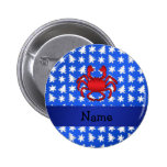 Personalised name crab blue snowflakes trees pinback button