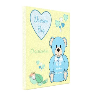 Personalised name Cute blue Teddy Bear Nursery Canvas Print