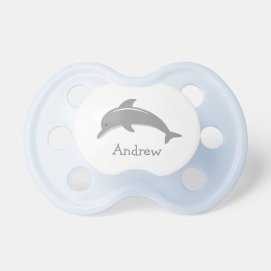Personalised name cute grey dolphin baby pacifier