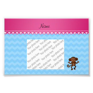 Personalised name cute monkey pastel blue chevrons photo art