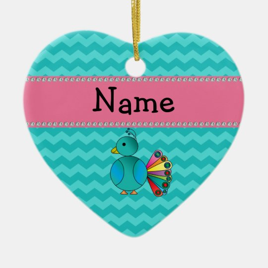 Personalised name cute peacock christmas ornament
