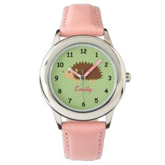 Personalised name cute pink hedgehog girls watch