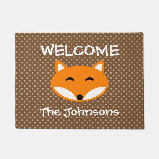Personalised name cute red fox polka dots door