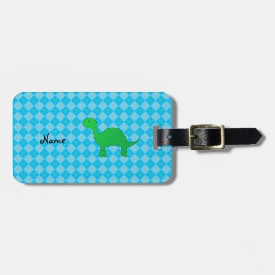 Personalised name dinosaur blue argyle luggage tag