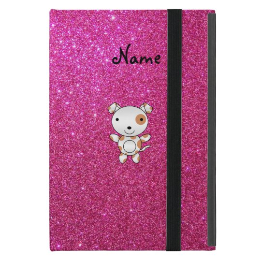 Personalised name dog pink glitter cover for iPad