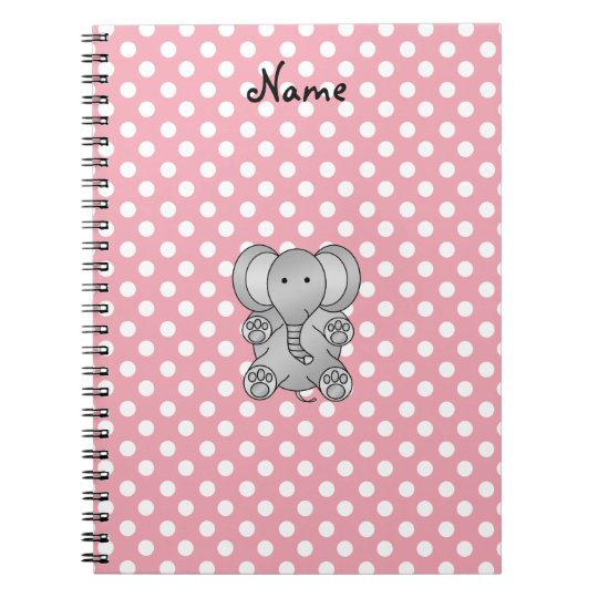 Personalised name elephant gifts spiral notebook